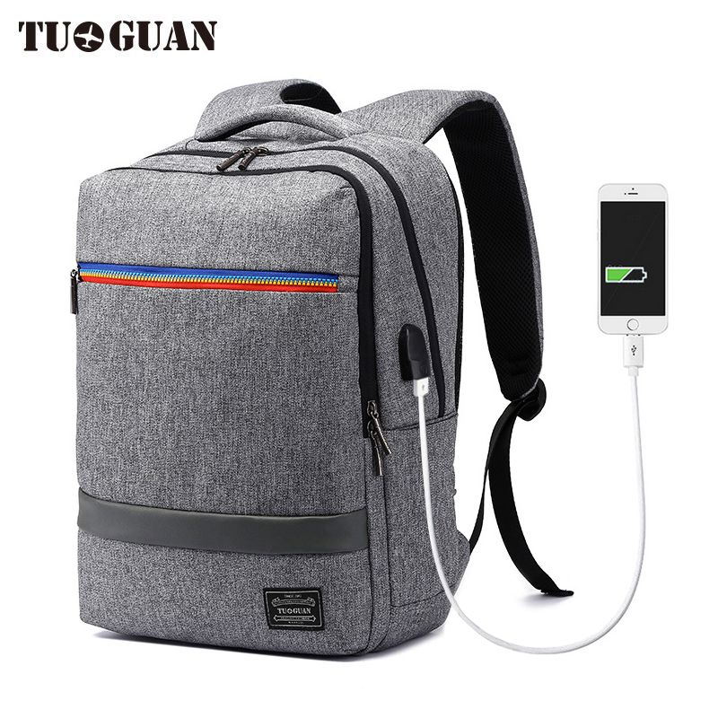 TUGUAN Men Waterproof Anti Theft USB Charging Large Capacity Backpacks School Travel Business Casual Laptop Back Pack Boy Bags<br>