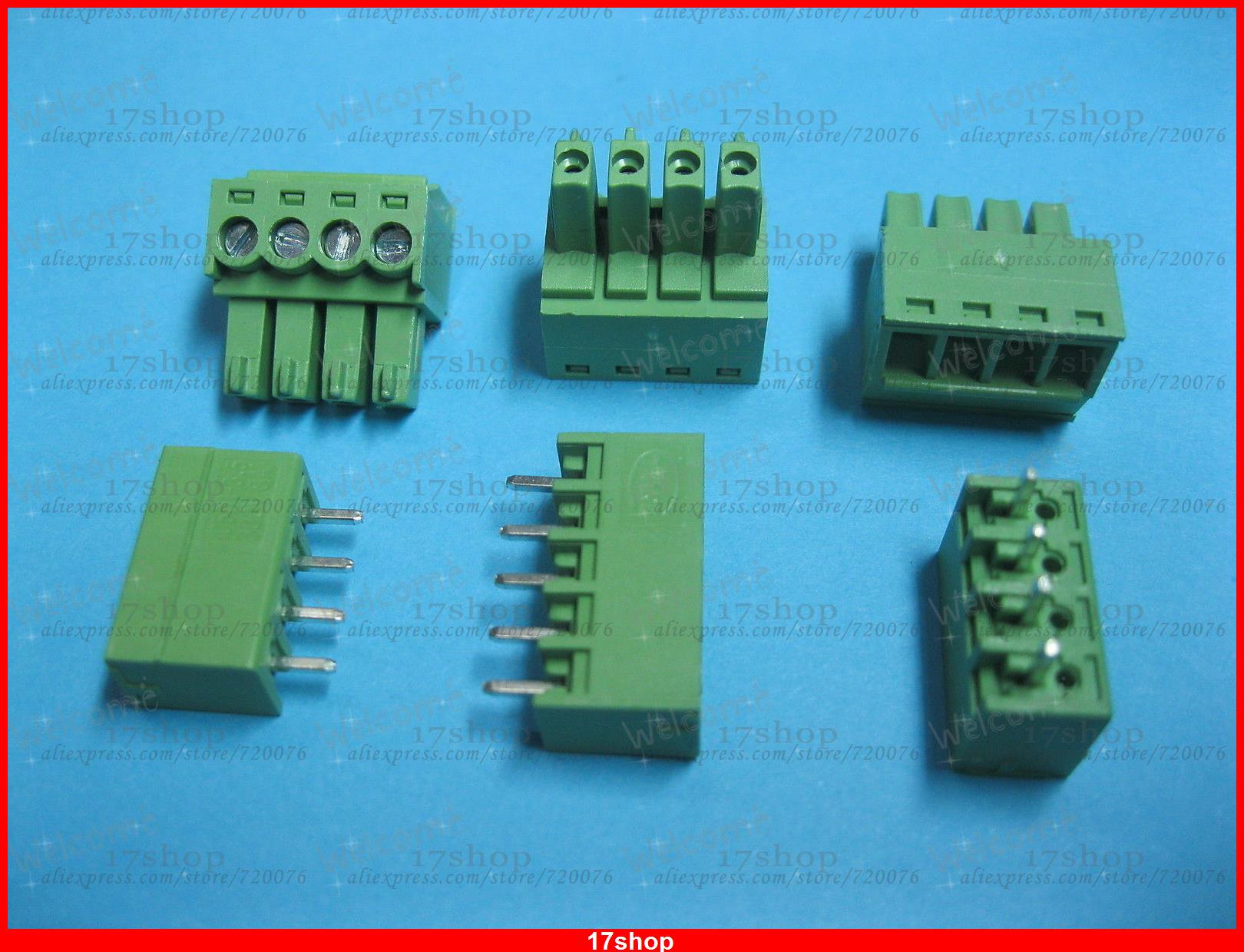 200 x Pitch 3.81mm 4way/pin Screw Terminal Block Connector Green Pluggable Type<br><br>Aliexpress