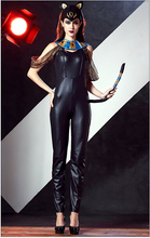 free shipping Halloween costume Nightclub paint sexy cat woman cosplay costume black M.XL(China)