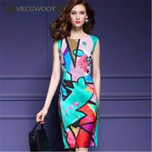 Temperament Round neck Sleeveless Graffiti Printed Women Dress Summer Elegant Fashion Women Dress 2017 New S-XXXL SES22(China)