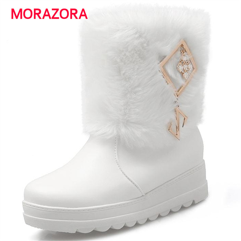 2017 plus size 34-43 comfortable snow boots pu soft leather round toe ankle boots for women slip on charm height increasing<br><br>Aliexpress
