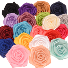 10pcs Satin Flower 6cm Flat Rose Flower Hair Accessories DIY Accessories Boutique Wedding decoration flower No Hair clips(China)