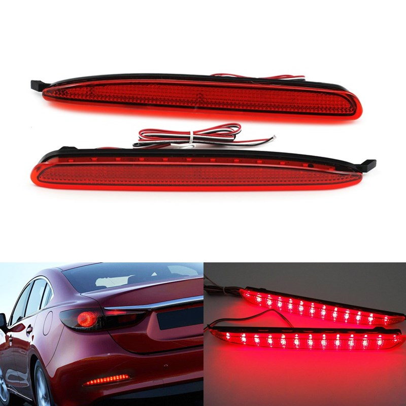 2 PCS Car Styling Car Accessories LED Red Rear bumper reflector lights parking warning Brake Tail light  fog lamp for Mazda 6<br><br>Aliexpress