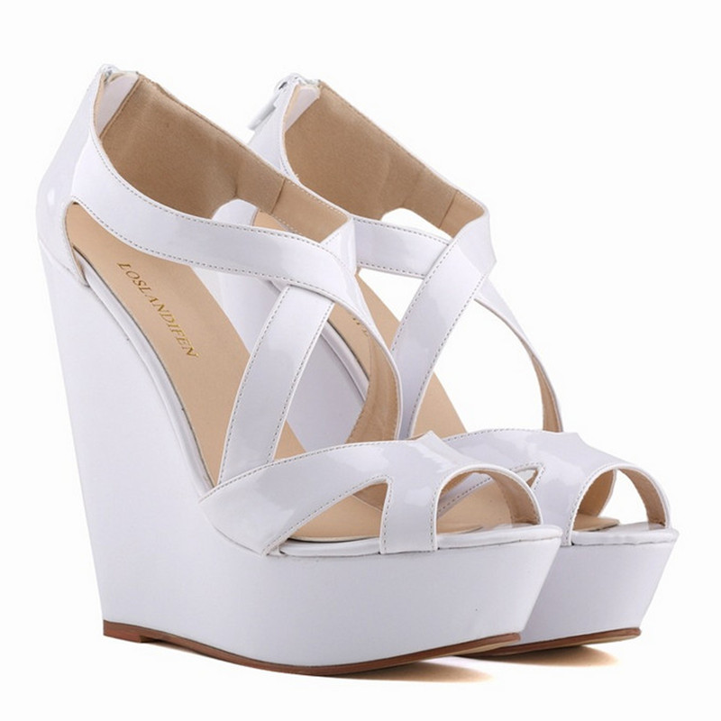 Fashion Fish Mouth Wedge Sandals Patent Leather Ultra High Heels Zipper Platform Shoes Woman Dancing Party Shoes Big Size 42<br>
