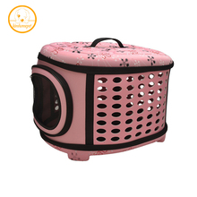 Dogs Cats Travel Bag Folding Small Pets Carrier flower print Travel Cage Collapsible Crate Tote Handbag PA11(China)