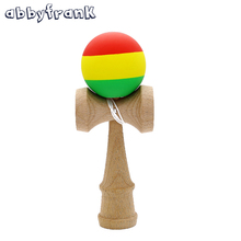 Striped Rubber Kendama Scrub Three-Color Sword Ball Wooden Toy Scrub Elastic Frosted Kendama Skillful Juggling Ball Games Toys