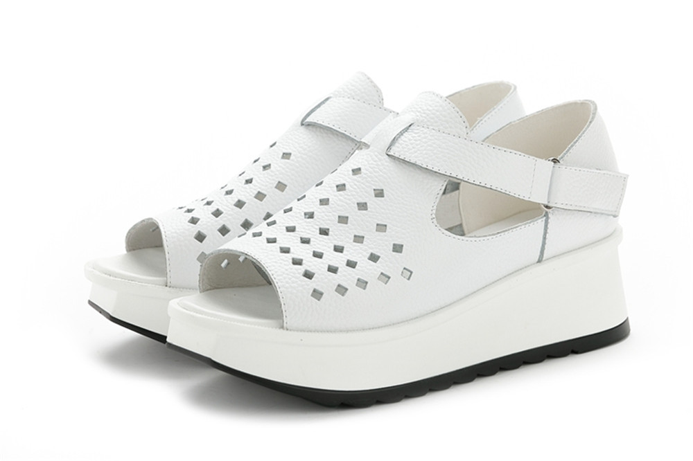 New summer women sandals Korean leather fish head waterproof famle Height Increasing shoes non-slip sandals Heel Height 3-5cm<br><br>Aliexpress