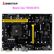 BIOSTAR 6 PIC-E For BTC Miner Machine Bitcoin Mining Motherboard TB350-BTC For AMD ATX AM4 Computer Mainboard DDR4 7 Phase Power