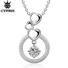 WHOLESALE N691 Top quality lowest price cz stone heart circle silver heart necklace 18inch Valentine's Day gift for girls