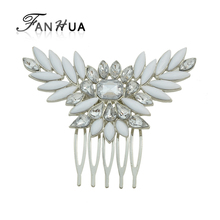 FANHUA  Luxury Hair Accessories Silver Color with White Acrylic and Rhinestone Flower Hair Combs Headwear Accessories