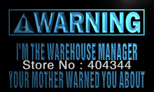 LZ024- Warning I'm the warehouse manager Neon Sign   home decor shop crafts