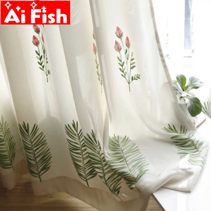 Green Leaves Embroidered Window Treatments Curtains For Living Room Nordic Style Simple Flowers Tulle Curtain Drapes AP350-30
