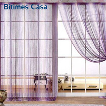 decorative 300*150CM solid color string curtain line curtain black white brown red room divider home decoration window valance(China)