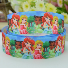 "DUWES 7/8"" 22mm little Princess girls Christmas Printed grosgrain ribbon hairbow DIY handmade wholesale 50YD(China)"