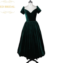Real Sample Short Sleeve Ankle Length Dark Green Velvet Evening Party Dress Formal Gown robe de soiree(China)