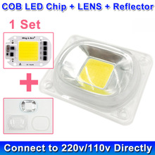 1 set LED COB Chip Led Lamp Bulb Chip with LED Lens Reflector 230V 220V 20W 30W 50W For LED Flood Light DIY Need Heatsink(China)