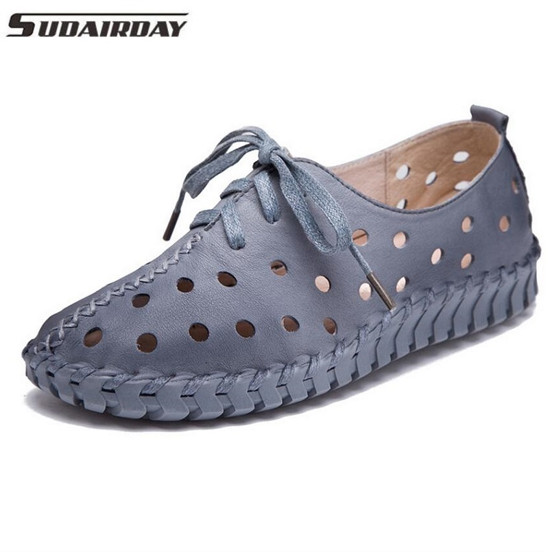 6Color Womens Handmade Shoes Genuine Leather Flat Lacing Breathable Shoes Woman Hollow Out Soft Single Shoes Women Flats<br>