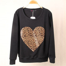 Hoodies Women S M L Harajuku 2016 Leopard Heart Printing Sweatshirts Female Sudaderas Mujer New Arrival Long Sleeves Hoodie Tops