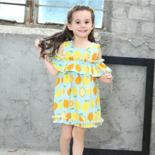 Hot Item Children Lemon Print  Dresses Lotus Leaf Sleeve Loose 100% Cotton Girls Floral Clothing Discount