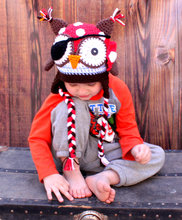 Crochet pirate owl hat,beanie,cap, animal hat, red polka dot bandana, earflaps with braids, brown,handmade for infant