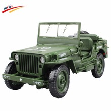 Alloy Diecast 1:18 For Jeep Military Tactics Car Model Opening Hood Panels to Reveal the Engine For Children Gift Toys(China)