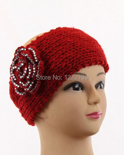 Women Knitted Crochet Acrylic Headband Hairband Headwrap With Rhinestone Flower Pattern Hot Sales
