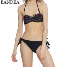 Buy BANDEA push swimsuit women bikini sexy print swimwear brazilian bikini set halter top swimming suit bathing beach wear