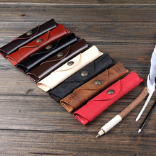 Vintage High Quality Genuine Leather Pen Bag Fountain Pen Holder Pen Pouch Case Office Business Gift