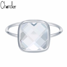 Chandler Original Antique White Square Big Austrian Crystal Rings For Women Girls India Luxury Love Promise Anel Aneis Drop Ship(China)
