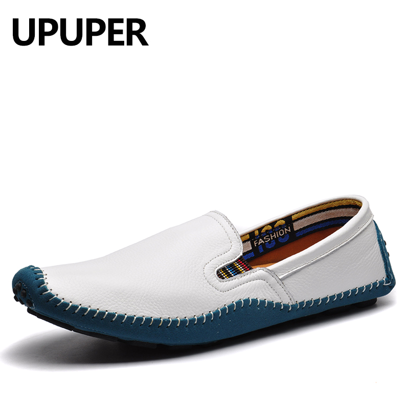 2018 NEW Spring Autumn Cowhide Handmade Men Loafers Shoes Large Size:36-47 Genuine Leather Male Comfortable Flat Casual Shoes<br>