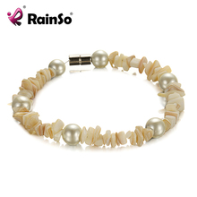 Free Shipping Rainso Promotion Wholesale Magnetic Pearl Bracelet Bangle Hematite Jewelry Wraps OHB-009 7.5""