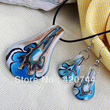 12 sets/Lot Blue Leaf Glass Murano Pendant Necklace Earrings Set CHIC