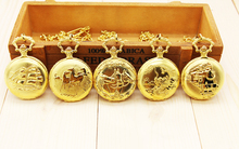 Antique Bronze gold orologio taschino Horse train dragon Quartz pocket watch necklace Chain Pendant Womens Men Watches Gifts