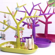 Brand New Jewelry Bracelet Necklace Earring Ring Display Stand Organizer Holder Colorful Plastic Bird Tree Jewelry Display Rack