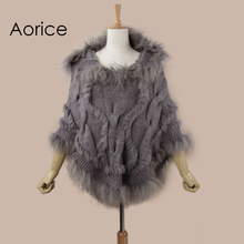 Aorice SRR008 Real Knitted hooded rabbit fur shawl poncho stole cape scarf wrap3 color