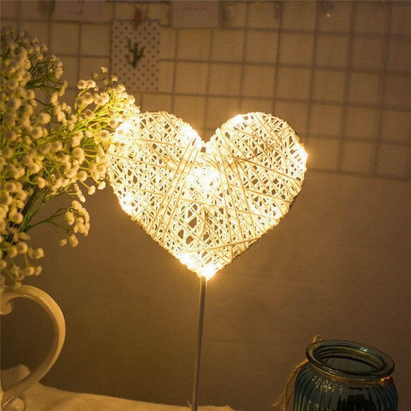 Chiclits 40CM Star Heart Shape LED Night Light Grass Rattan Woven Battery Power Girls Bedroom Decorative Table Lamp Kid Gift Toy (17)