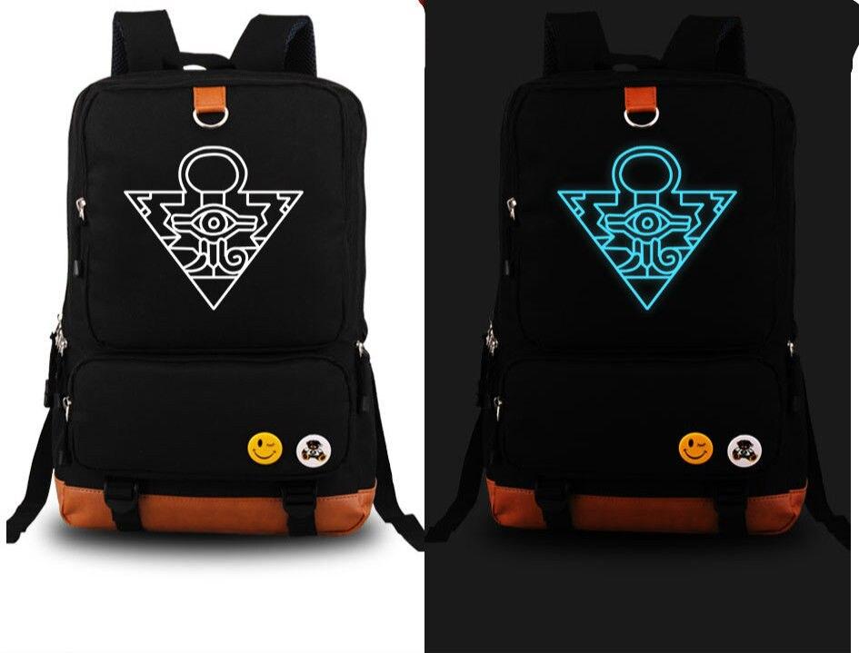 Duel Monsters Yu-Gi-Oh Anime Black Noctilucence Light Backpack school Bag<br>