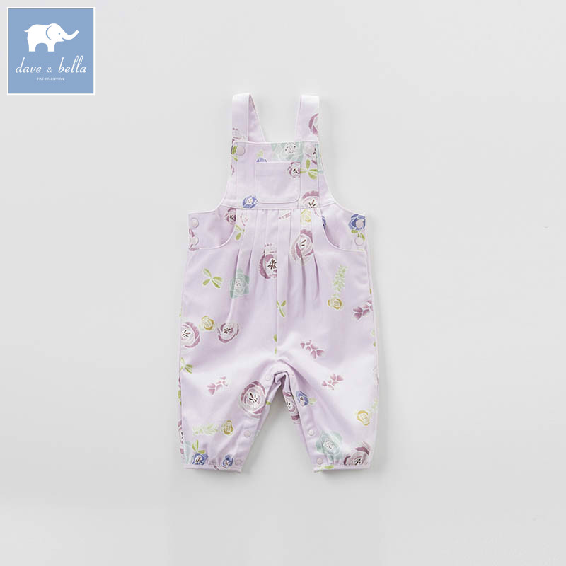 DB7298 dave bella spring baby girl fashion floral overalls children high quality clothes kids 1 piece <br>