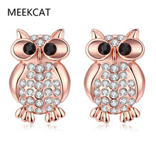MEEKCAT Fashion Owl Wedding Earrings Jewelry Women Pink Gold Color Stud Earrings Bird Brinco Zirconia Colorido Aretes De Mujer