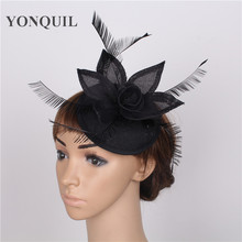 17 colors elegant fascinators imitation sinamay base with feather wedding headwear event occasion cocktail hats black millinery(China)