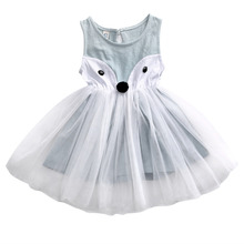 0-5Y Lolita Style Toddler Kids Baby Girls Fox Dress Sleeveless Princess Party Pageant Dresses
