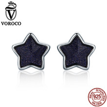 VOROCO 2017 pure 925 Sterling Silver Star Sky Aventurine Blue Goldstone Energy Lucky Stud Earrings For Women Fine Jewelry VSE057(China)