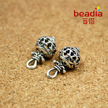 2017 New Fashion 10pcs/lot Antique Silver Plated Hollow Alloy Charm Beads for Women Men Leather Bracelets Accessories Making(China)