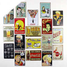 Beer pretty woman coffee menu Vintage metal Tin signs Home wall Art decor Bar metal paintings Club Plaques TP005