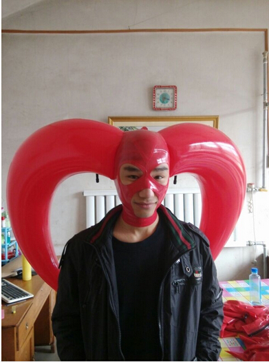 100% natural latex mask rubber Inflatable horn head hood fetish cosplay Mask with open eyes/mouth