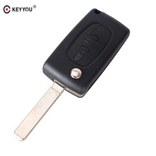 KEYYOU 3 Button Remote Flip Folding Key Shell Case Fob For Peugeot 407 307 607 CE0523 Blank Without Groove Key Cover Case