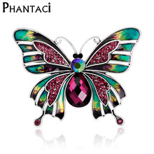 Rainbow Multi Color Butterfly Brooch Pins Crystal Rhinestone Insect Women Fashion Jewelry Gift Animal Garment Accessory