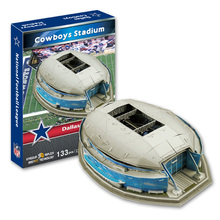 Candice guo 3D puzzle DIY toy paper building assemble hand work game model Baseball cowboys stadium dallas kid birthday gift 1pc(China)