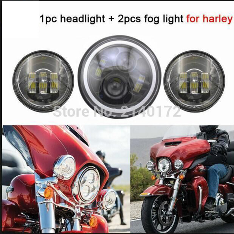 Harley Accessories 7inch LED Headlight White Halo and 4.5inch Fog Passing Light Black for Harley Motorcycles<br><br>Aliexpress