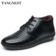 Tangnest  Man's Sequined Solid Geometric Warm Plush Ankle Boots Men Fashion PU Leather Shoes Men Lace Up Winter Boots XMX695
